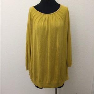 3/4 sleeve sweater mustard yellow